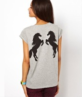Free Shipping new back double horse pattern printing light gray Woman T-Shirt