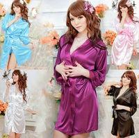 Shiny silky cloth bathrobes pajamas sexy lingerie sexy temptation sauna clothes cardigan black purple dress