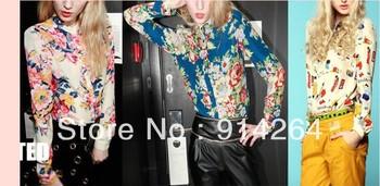 Reto Sexy Women Printed Color Long Sleeve Stand Collar Blouse Chiffon Top Shirt    free shipping