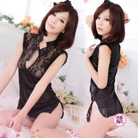 Sexy women's short skirt perspectivity sleepwear she lace cheongsam