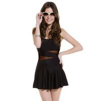 Women's swimwear black  spa solid one piece skirted swimsuit