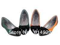 Korean female candy colored glossy patent leather pointed flat shoes free shipping