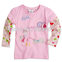FREE SHIPPING F2943# 18m/6y 5pieces /lot printed beautiful girl  children  long sleeve T-shirt