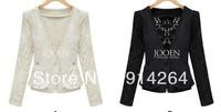 New Lady Retro Celebrity style short lace jacket coat suit black beige Rmf    free shipping