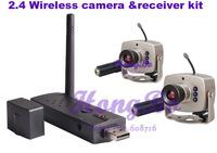 (1pcs)USB wireless receiver Kit with 380TV lines 2.4G Wireless Mini CCTV camera(2pcs)