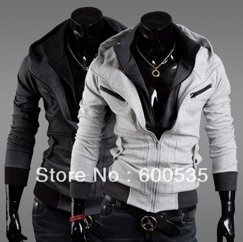 New men's fashion thicking hooded jacket hoodie +D052(China (Mainland))