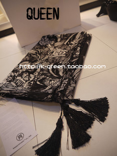 Skull scarf muffler scarf three-dimensional tassel super large black and white cape silk scarf(China (Mainland))