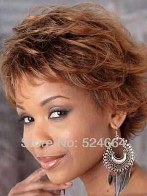Women Nice Wig Short Wavy Brown Lady Raise Hair Wigs Synthetic Free Shipping(China (Mainland))