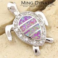 CZ Angel Pink Fire Opal Silver Sea Turtle Fashion  Jewelry Women & Men Pendant OP113F  Wholesale & Retail