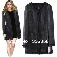 Free Shipping hot selling Brand Trench Warm Wool Coat,long winter jacket black women overwear woolen