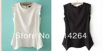 """Trend Elegant Women Rivet Round Neck Sleeveless Chiffon Shirt Top Black/White     free shipping"