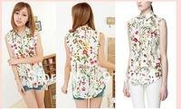 Elegant New women lady flower pattern sleeveless shirt lapel blouse Wild tops    free shipping