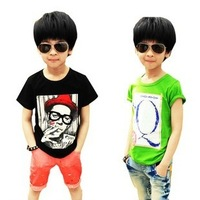 Korean Brand Children boys t shirts character letter Q smoke man print short sleeve t-shirts 2013 new, free shipping, wholesale