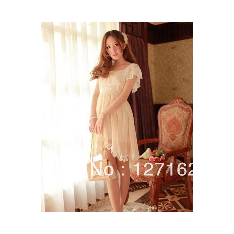 Sweet Square Collar Floral Falbala Chiffon Women Dress freeshiping2013 X00010CIXN(China (Mainland))