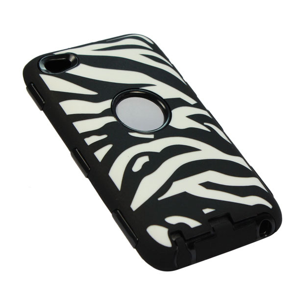New Fashion Colorful Zebra Hard Back Case Cover For Apple iPod touch 3/4 Black Free shipping & wholesale(China (Mainland))