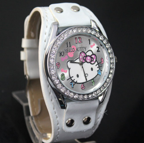 Fashion White Hello Kitty Ladies Women's Girls Students Crystal Quartz Wrist Watches, Free & Drop Shipping(China (Mainland))