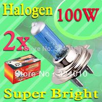 2pcs H7 Super Bright White Fog Halogen Bulb 100W Car Head Light Lamp V10 12V