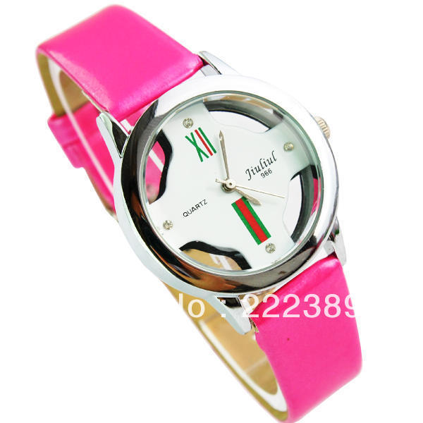 Free shipping Supply Four colors Leather quartz Women's watches silver case fashion transparent bottom watch 144.054L(China (Mainland))