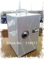 WHITE  color Summer mini cooler 18L AC220-240V/60HZ  DC 12V portable car fridge