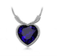 Romantic Titanic Heart Necklace Blue Heart Necklace Crystal Pendant Valentine Jewelry P101 Free Shipping