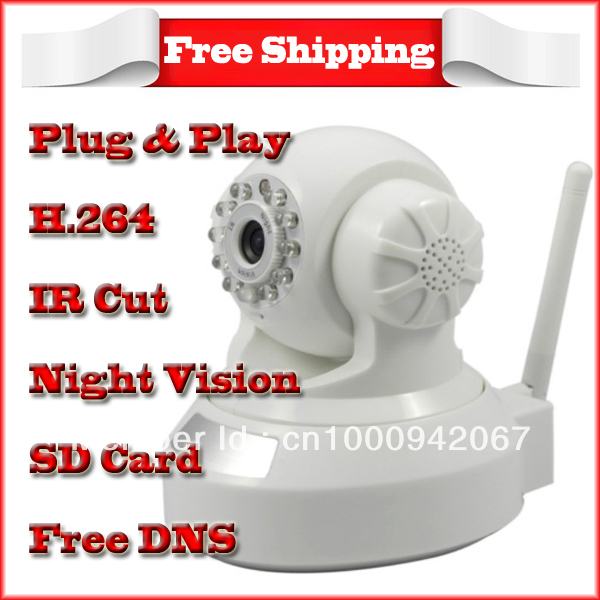 Free shipping P2P IR cut H.264 Wireless IP Camera Plug & Play Wifi Network security camera(China (Mainland))