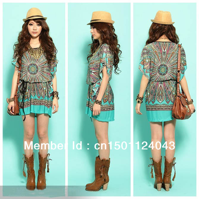 Free Shipping, Ladies' Vintage Fashion Peacock Print Bohemian Mini Loose Silk T-Shirt Dress,Women Summer Casual Dress Plus Size(China (Mainland))