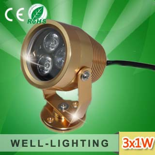Free Shipping! led projector light 3W, IP65 led spot light,DC12/24V flood light/lamp with spikes for garden application(China (Mainland))