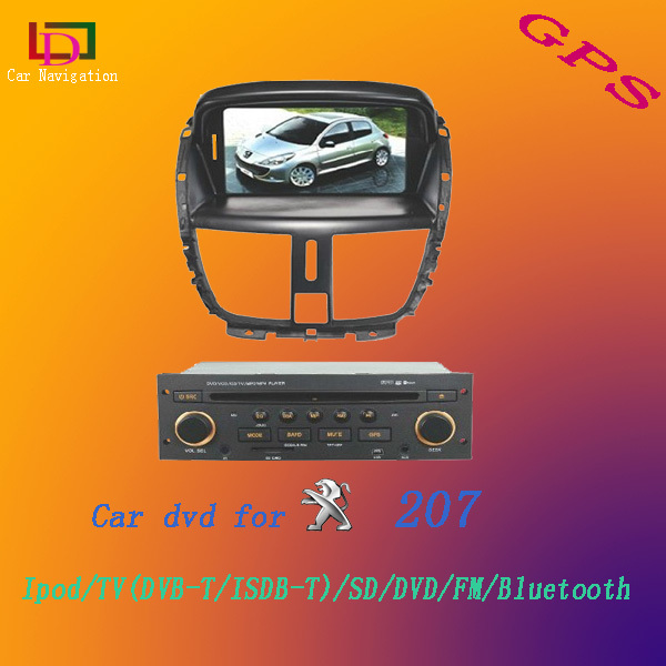 New Arrival 7 inch Double Din Car Radio GPS DVD Player for Peugeot 207 with Canbus Bluetooth Analog TV free maps(China (Mainland))