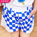 Princess children's clothing summer 2013 female child plaid shorts female big boy trousers child trousers summer