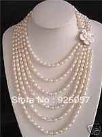 NOBLEST 6 ROW SALT WATER PEARL SHELL FLOWER NECKLACEFashion jewelry