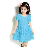 2013 summer short-sleeve dress child lace skirt pleated skirt