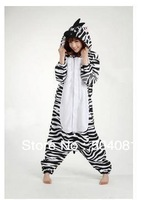Free shipping (1set/lot) 100% good Quality Zebra Cartoon Costume Onesie Cosplay Costumes Pajamas Coverall size S M L XL