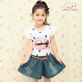 2013 summer child patchwork denim one-piece dress skirt female child short-sleeve skirt
