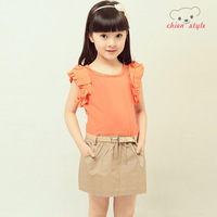 Patchwork one-piece dress child preppy style skirt