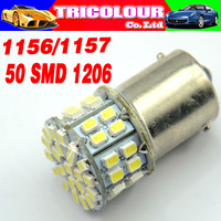 HK POST FREE!!! 1156 1157 50 SMD 1206 BA15S BAU15S BA15D P21W Auto Turn signal light Brake light White 12V 100pcs/lot #LF02