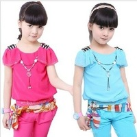 Children's clothing summer new arrival 2013 female child summer ribbon casual sports set necklace short-sleeve capris