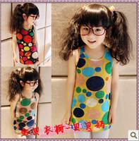 2013 female child summer multicolour dot design slim hip long tank dress