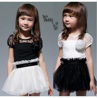 2013 summer female child summer corsage elegant gauze patchwork q3023 short-sleeve dress