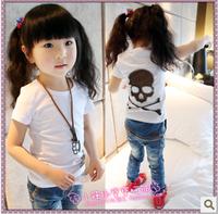 2013 female child summer fishing net skull personalized short-sleeve T-shirt basic shirt