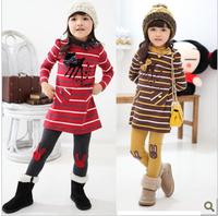 Spring and autumn female child fashion 100% cotton stripe little deer child set child sportswear t3005