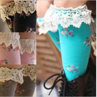 Hot-selling popkid knee-high children cotton socks 100% laciness stocking all-match princess socks