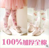 2013 female child new arrival spring 100% cotton thickening female child legging skinny pants
