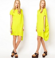Free Shipping women new Shoulder draped asymmetrical hem short sleeve chiffon dress
