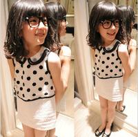 2013 summer female child three-dimensional polka dot gauze princess dress
