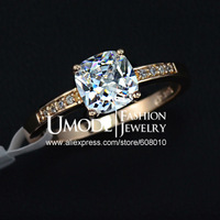 UMODE Rose Gold Plated 7mm Square CZ Stone Engagement Ring JR0118A