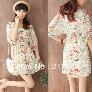 Free Shipping 2013New Ladies' Print Chiffon dress Cute Women's Fashion Pleated Mini Dress D937(China (Mainland))