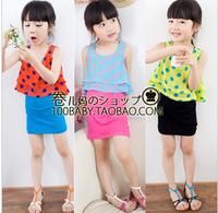 2013 female child summer polka dot double layer vest 2 one-piece dress