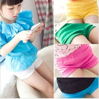 2013 summer female child all-match candy color elastic roll up hem shorts k3057