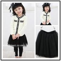 2013 spring cute little princess long-sleeve cardigan beautiful tulle dress female child set s2004