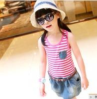 2013 summer stripe denim patchwork female child tank dress belt q3027